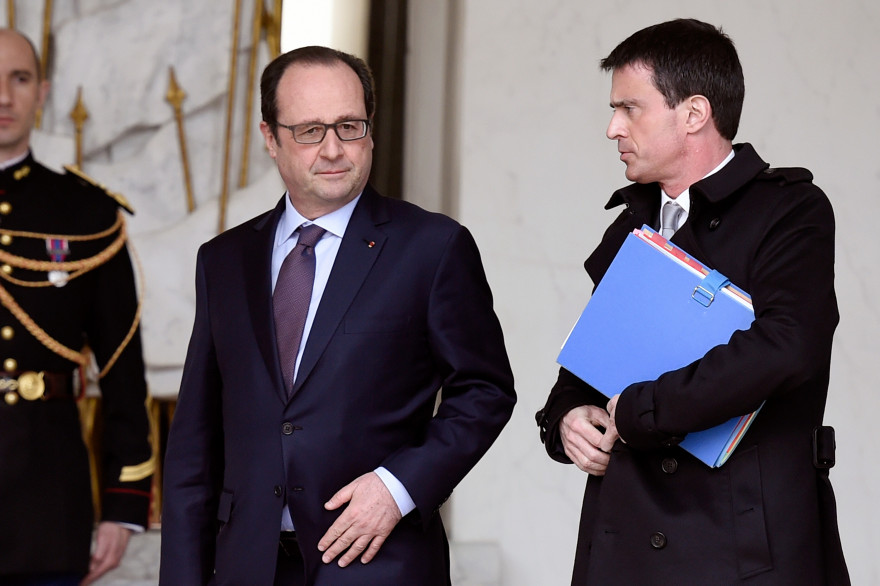 François Hollande et Manuel Valls, le 1er avril 2015 à Paris