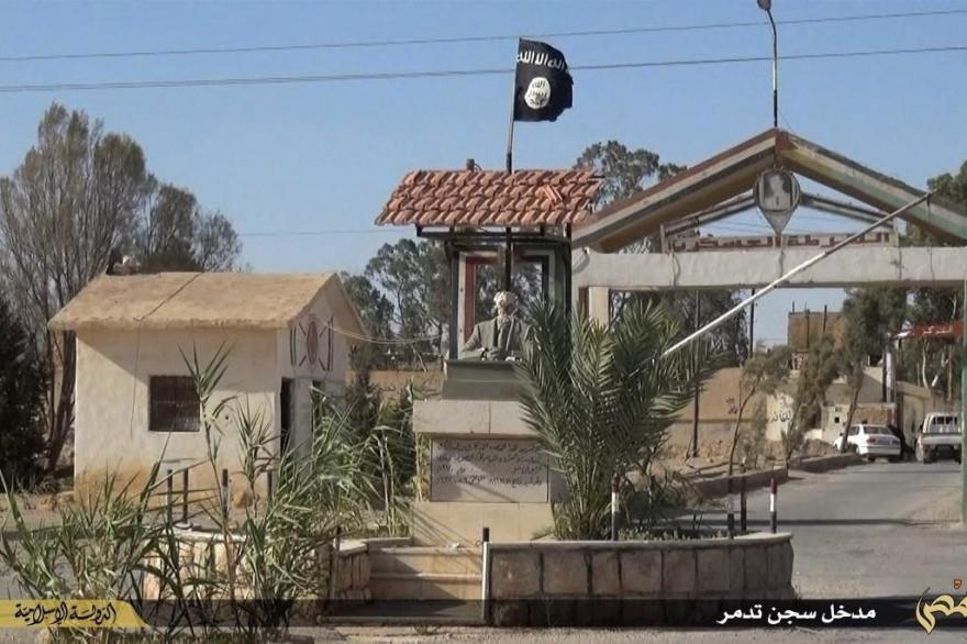 L'entrée de la prison de Palmyre, en Syrie.