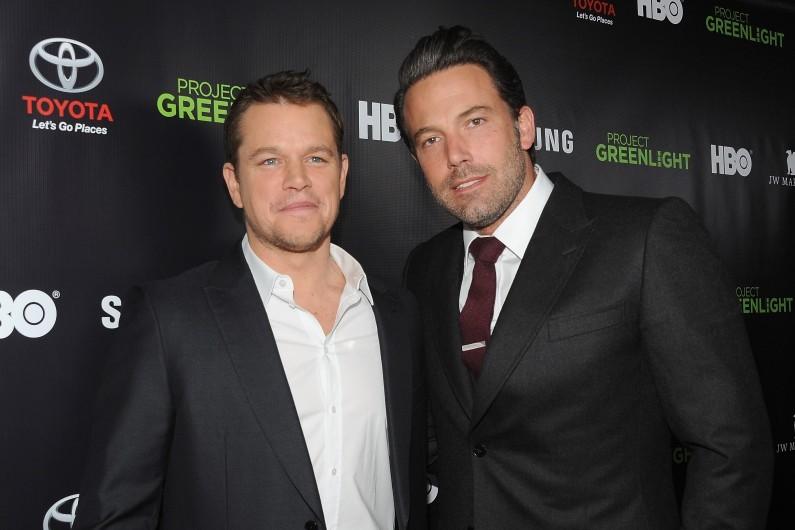 Matt Damon et Ben Affleck lors d'une soirée HBO, à Los Angeles le 7 novembre 2014