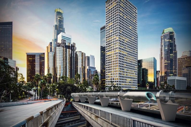 Vue d'artiste de l'Hyperloop, capsules futuristes qui pourraient atteindre plus de 1200 km/h.