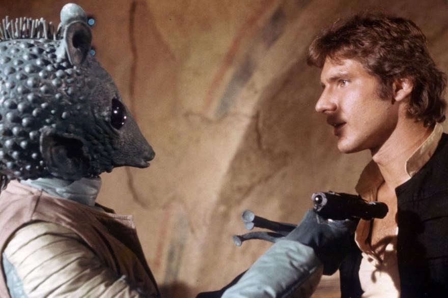 """Han Solo et Greedo le chasseur de prime s'affrontent dans """"Star Wars"""""""