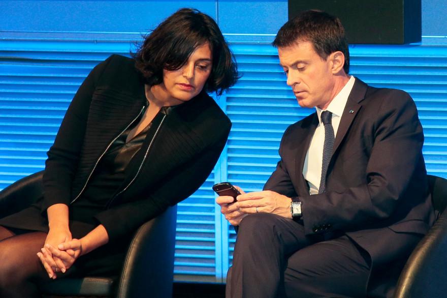 Myriam El Khomri et Manuel Valls à Paris le 15 octobre 2015
