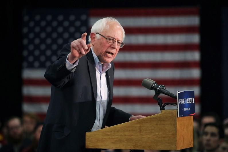Bernie Sanders, lors d'un discours dans l'Iowa (États-Unis), le 31 janvier 2016