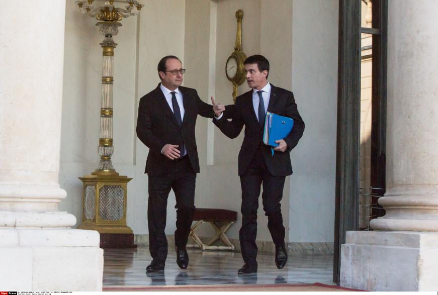 François Hollande et Manuel Valls à l'Élysée, le 10 février 2016