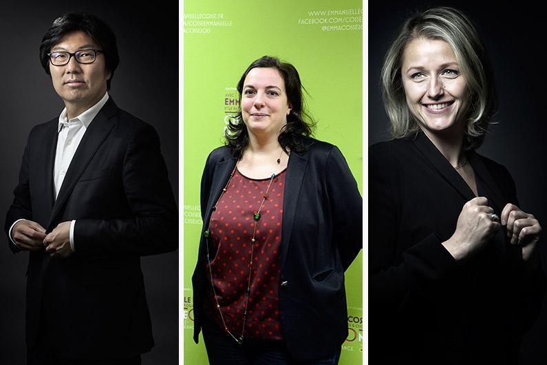 Les trois écologistes Jean-Vincent Placé, Emmanuelle Cosse et Barbara Pompili, entrent au gouvernement le 11 févier 2016