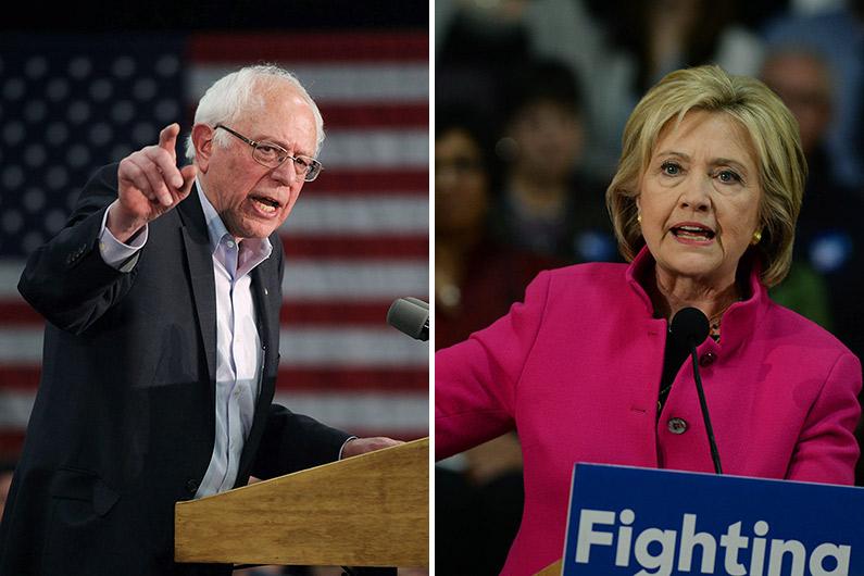 Les deux candidats démocrates à la présidentielle américaine 2016 : Bernie Sanders et Hillary Clinton