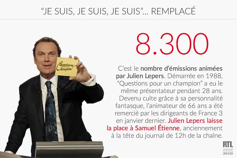"""LE CHIFFRE - Julien Lepers a présenté plus de 8.300 émissions de """"Questions pour un champion"""""""