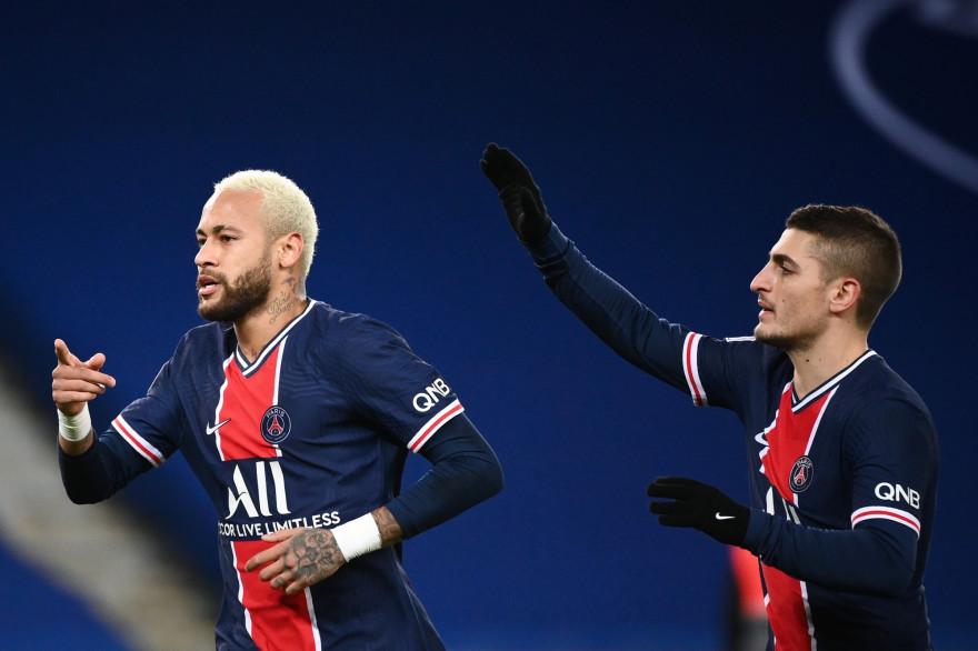 Neymar et Verratti avec le PSG le 28 novembre 2020 au Parc des Princes