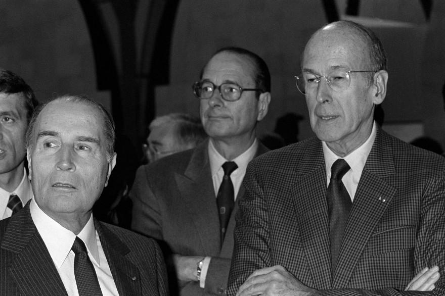 François Mitterrand, Jacques Chirac et Valéry Giscard d'Estaing lors de l'inauguration du musée d'Orsay, le 1er décembre 1986