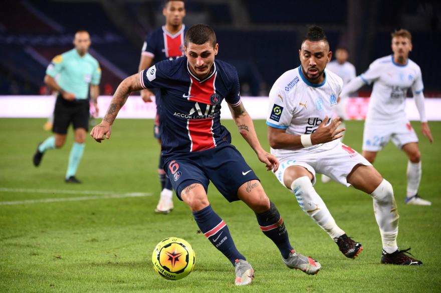 Marco Verratti devant Dimitrii lors de PSG-OM (0-1) le 13 septembre 2020