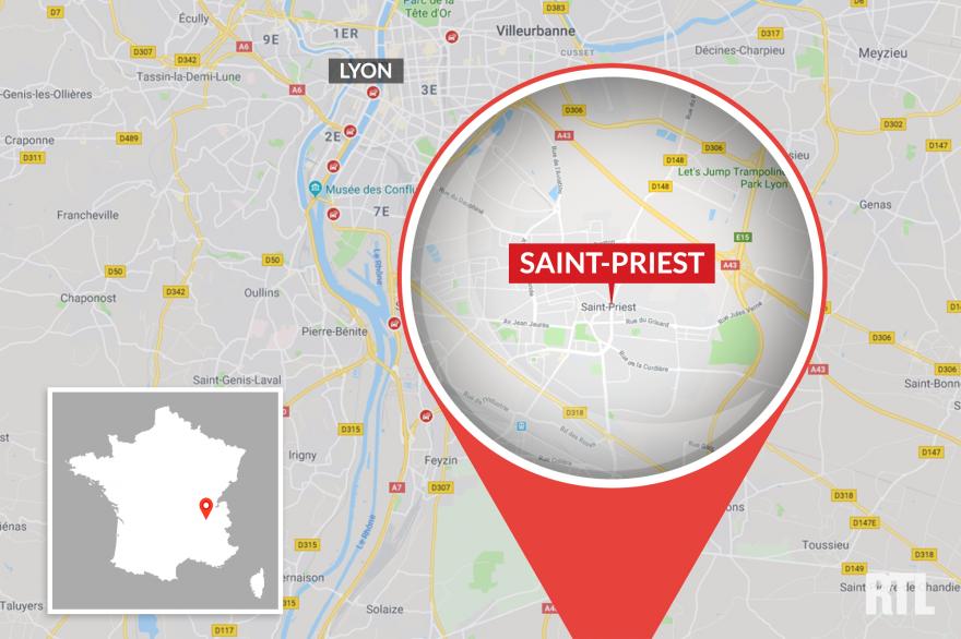 La ville de Saint-Priest, près de Lyon (Rhône-Alpes)