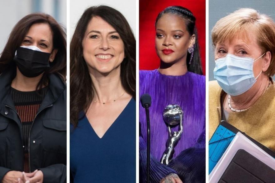 De gauche à droite : Kamala Harris, MacKenzie Scott, Rihanna et Angela Merkel.