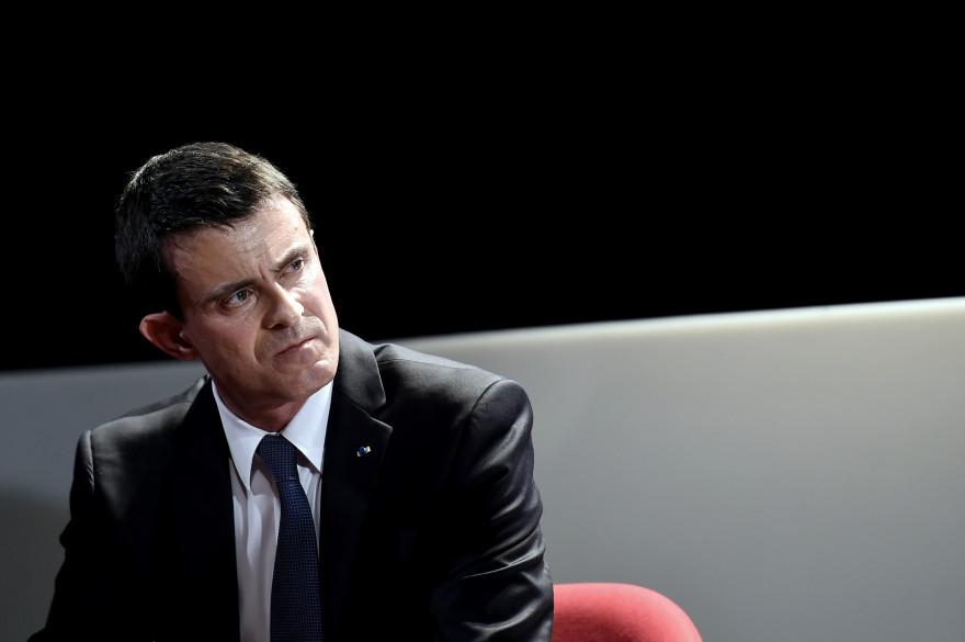 """Manuel Valls, le 4 avril 2016, au théâtre Dejazet pour une conférence sur le thème de """"L'islamisme et la récupération populiste en Europe"""""""