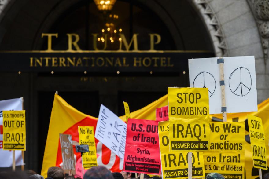 Des manifestants à Washington contre la guerre en Iran