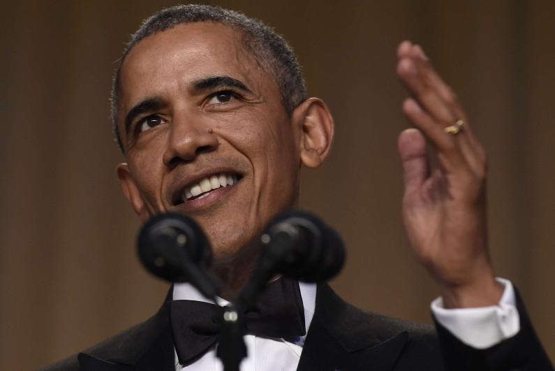 Le président Barack Obama lors du dîner de l'Association des correspondants de la Maison-Blanche le 30 avril 2016.