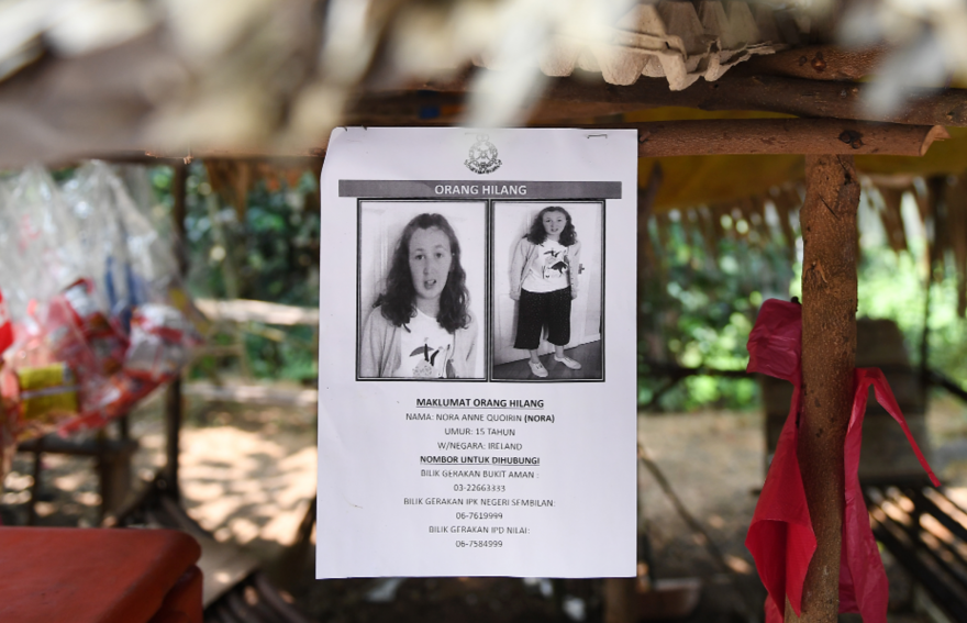 Des affiches de la jeune Nora Quoirin le 13 août dernier en Malaisie.