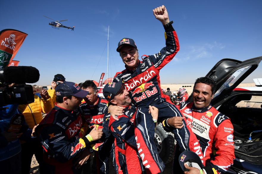 Carlos Sainz, lors de sa victoire au Dakar, le 17 janvier 2020.