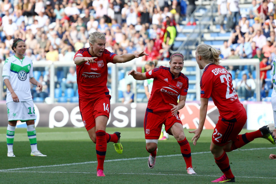 L'attaquante lyonnaise Ada Hegerberg célébrant son but en finale de la Ligue des champions féminine, lors de Wolfsburg-OL le 26 mai 2016