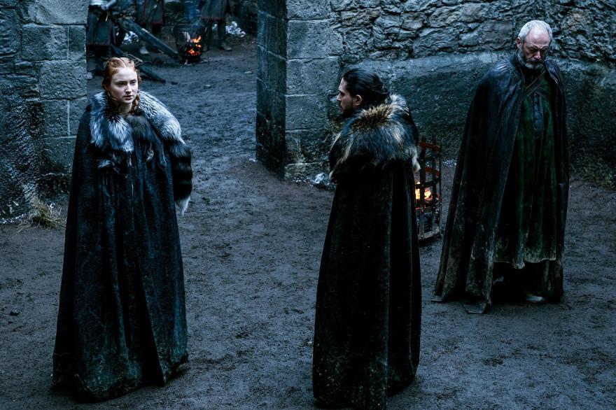 """Sansa Stark, Jon Snow et Ser Davos dans """"Game of Thrones"""""""