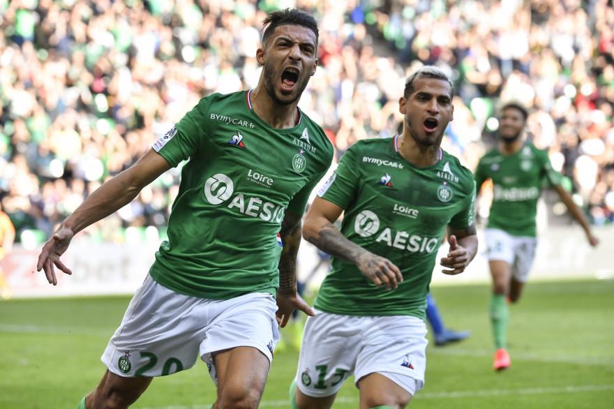 Denis Bouanga et Miguel Trauco avec les Verts à Saint-Étienne le 23 février 2020