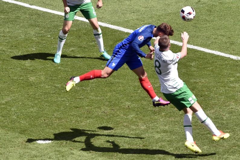 Antoine Griezmann lors de France-Irlande en quart de finale de l'Euro 2016 à Lyon