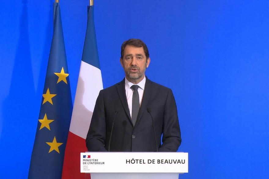 Christophe Castaner lors de sa prise de parole le 16 mars 2020.
