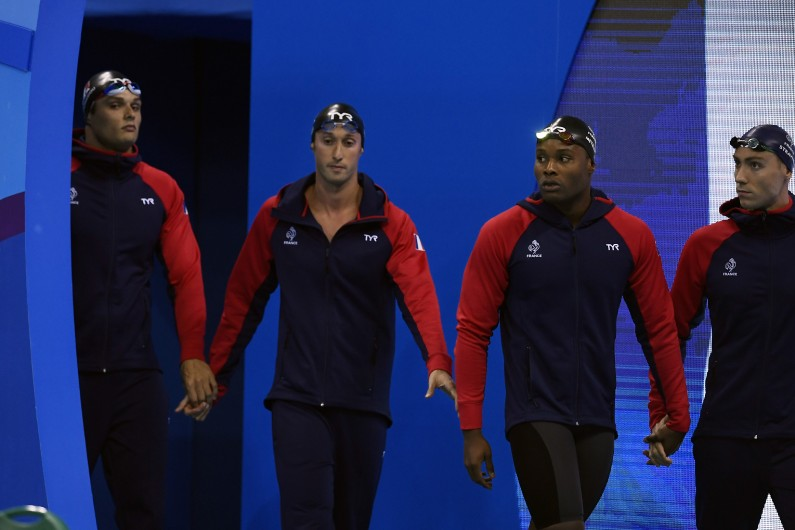 Florent Manaudou, Fabien Gilot, Mehdy Metella et Jérémy Stravius, médaillés d'argent au 4x100 m nage libre de Rio 2016