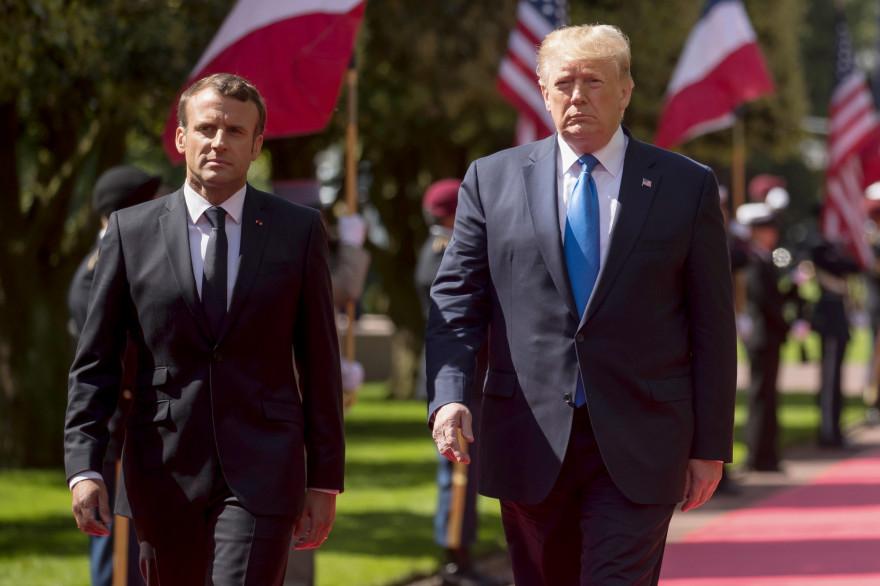 Emmanuel Macron et Donald Trump le 06/06/2019 au cimetière américain de Colleville-sur-mer