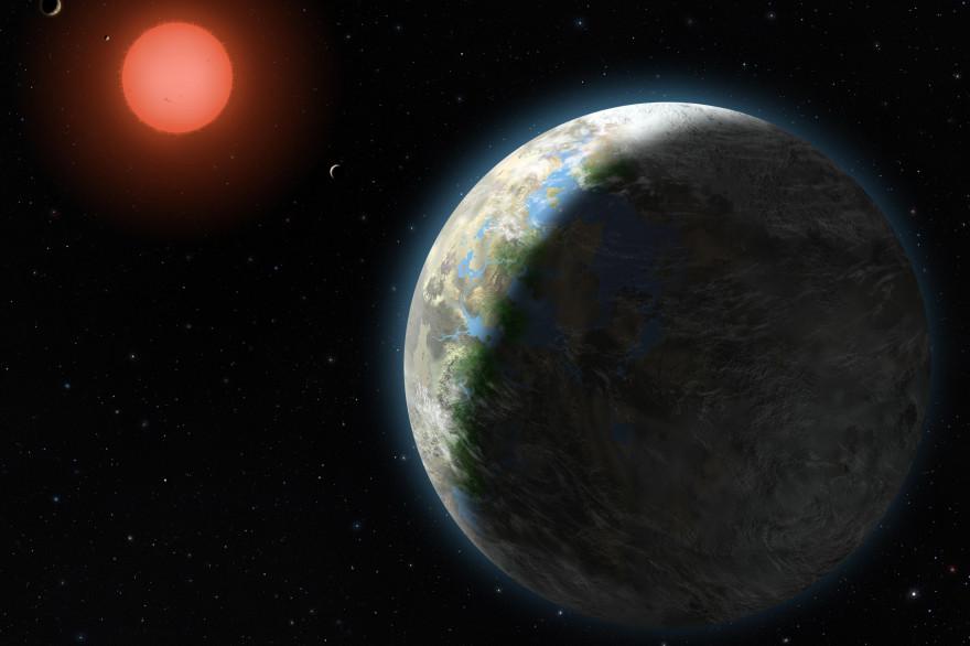 Vue d'artiste d'une exoplanète en orbite autour de son étoile (illustration)