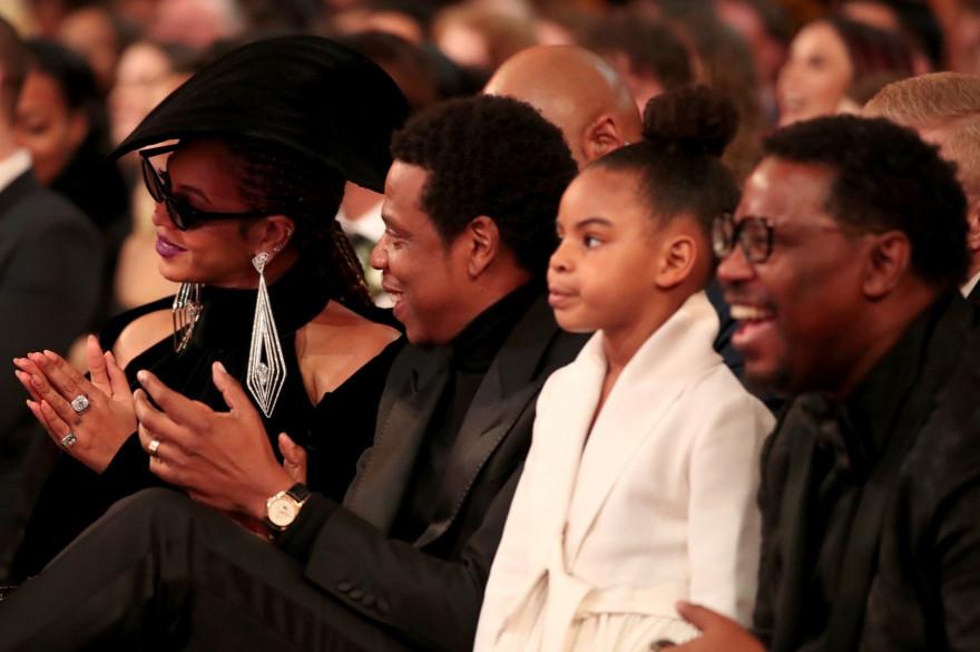 Béyoncé et Jay-Z accompagnés de leur fille Blue Ivy en 2018