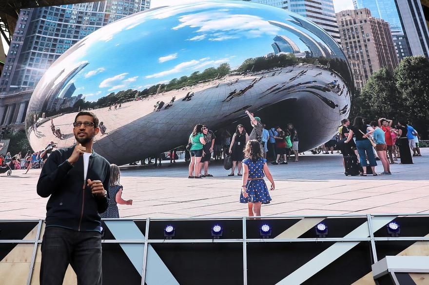 Le PDG de Google Sundar Pichai en ouverture de la conférence Google I/O 2016