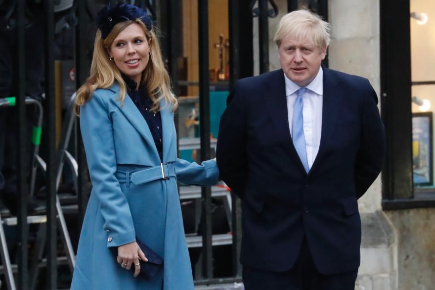 Carrie Symonds et son fiancé Boris Johnson le 9 mars 2020