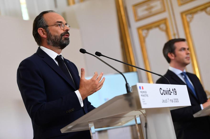 Édouard Philippe et Olivier Véran, le 7 mai 2020 à Matignon