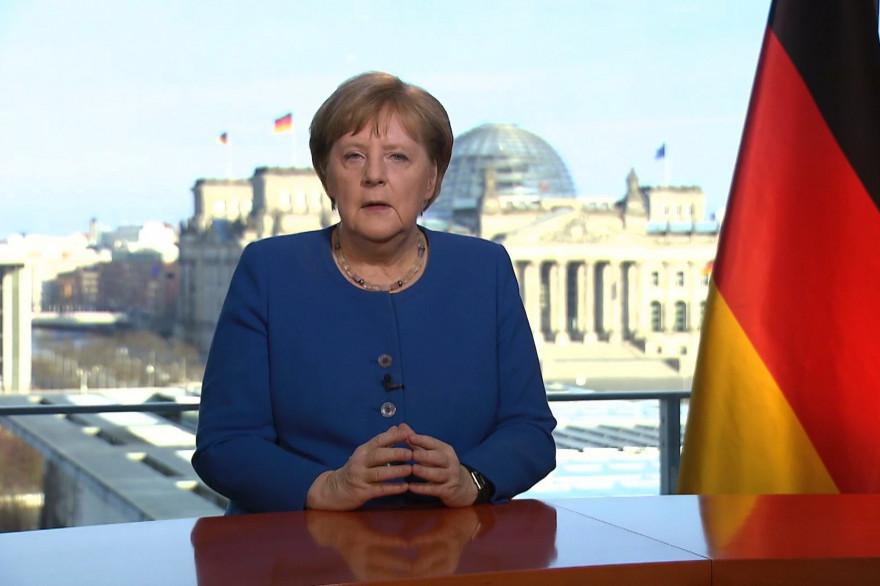 Angela Merkel lors d'une allocution télévision le 18 mars 2020.