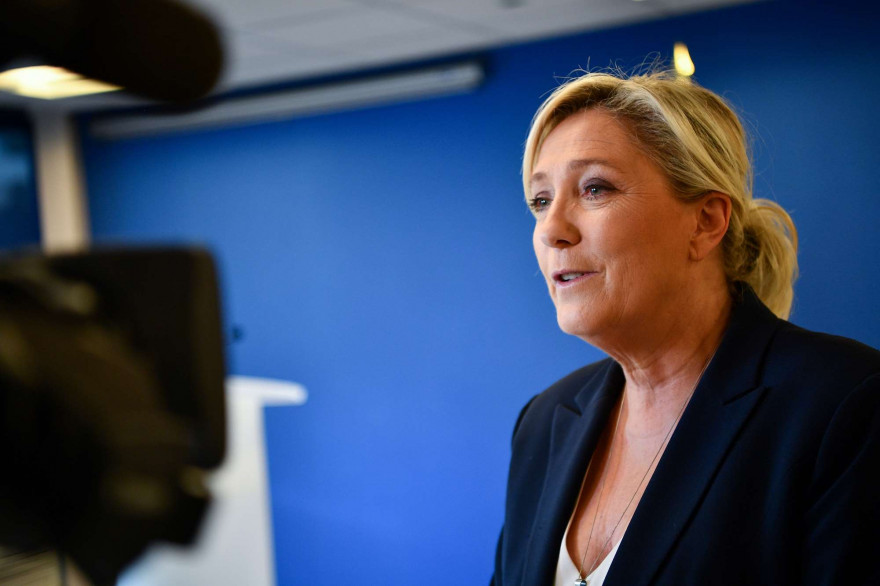 Marine Le Pen, au siège du RN à Nanterre, le 28 juin 2020.