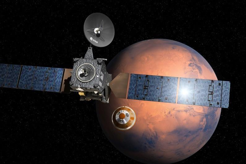 Une image de l'ESA montrant la séparation entre Schiaparelli et TGO