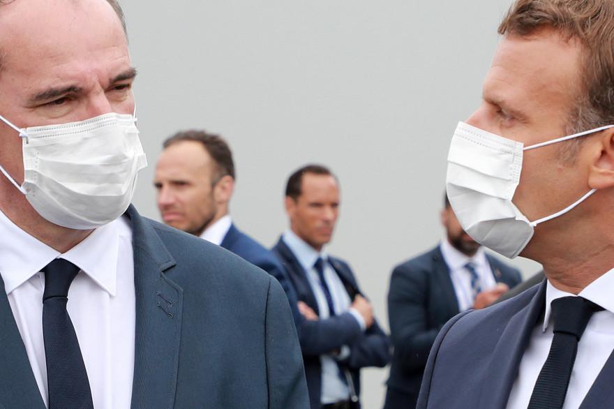 Le président de la République Emmanuel Macron et le Premier ministre Jean Castex le 14 juillet 2020, Place de la Concorde, à Paris