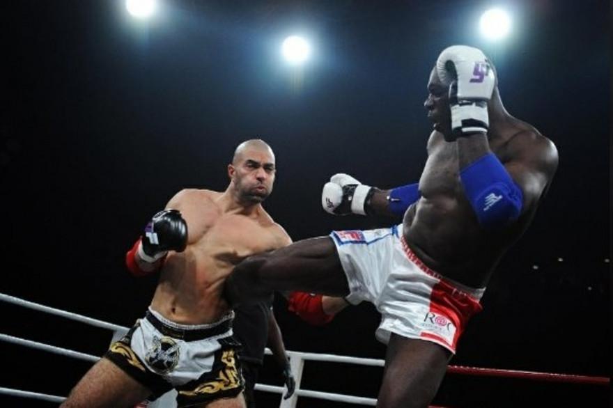 Le boxeur Patrice Quarteron, lors d'un combat