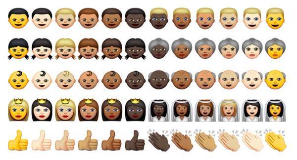 Des emojis de différentes couleurs de peau créés par Apple (illustration)
