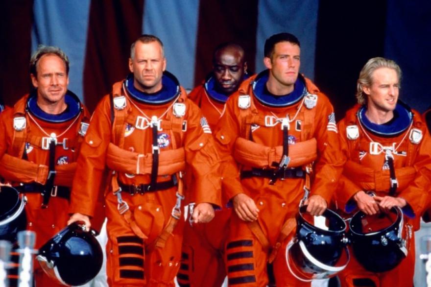 """Bruce Willis et son équipage, prêt à sauver le monde dans """"Armageddon"""""""