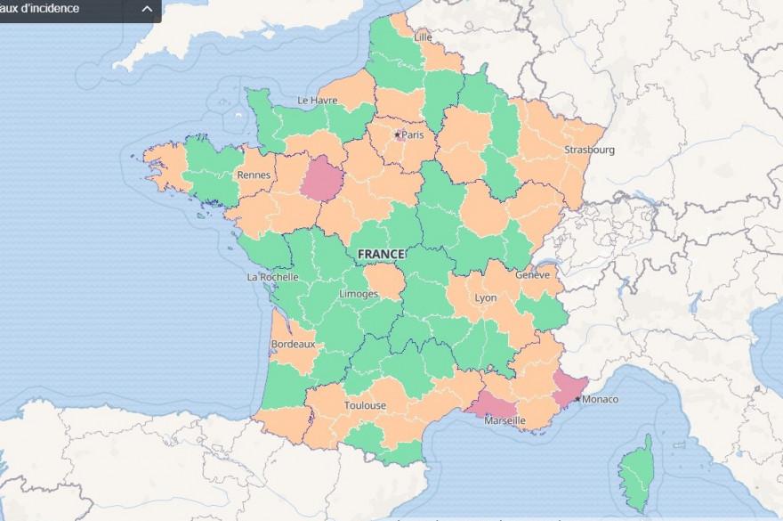 Carte du taux d'incidence au 19 août (pris le 20 août)