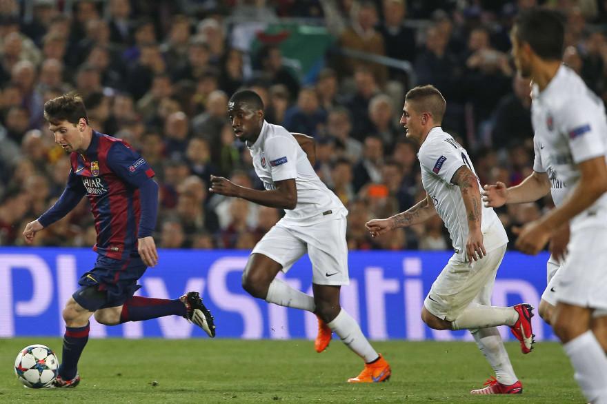 Blaise Matuidi et Marco Verratti à la poursuite de Lionel Messi en avril 2015