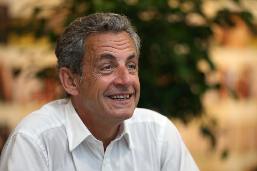 """Nicolas Sarkozy, lors de la présentation de son ouvrage """"Le Temps des Tempêtes"""", le 24 juillet 2020 à Ajaccio (Corse)."""