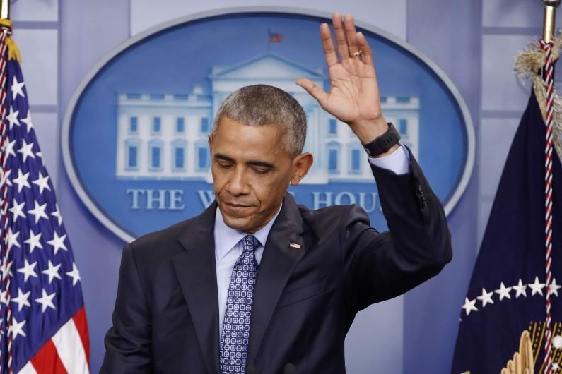 Barack Obama lors de sa conférence de presse d'adieux, le 18 janvier 2017