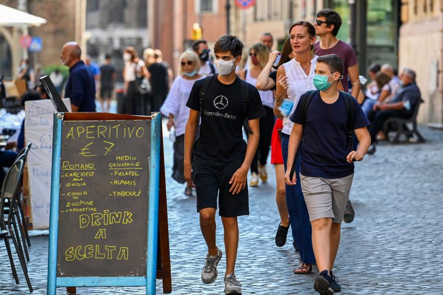 Une rue de Rome, le 15 septembre 2020