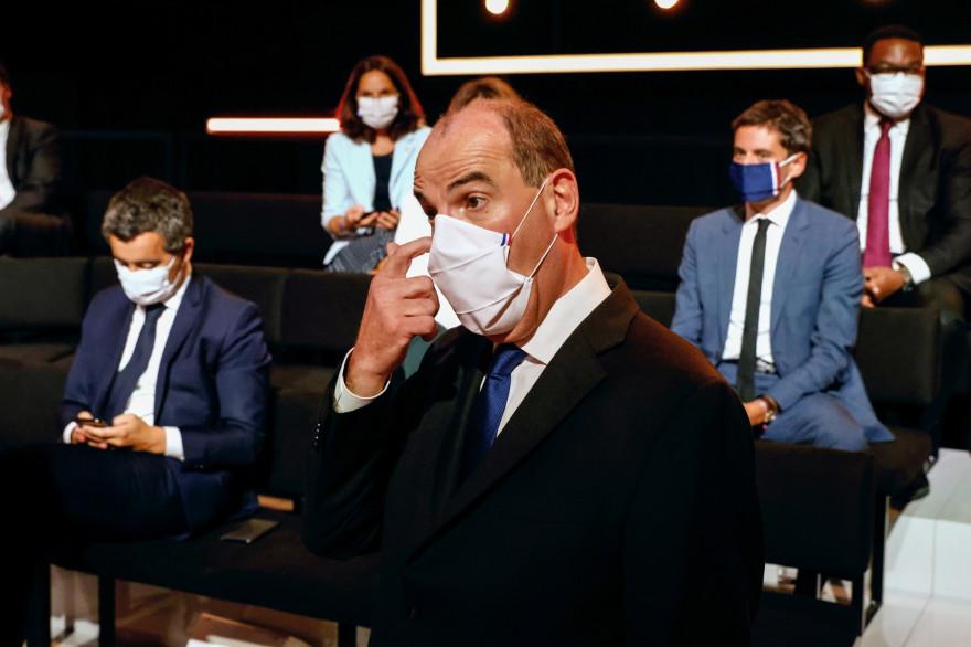 """Le Premier ministre Jean Castex sur le plateau de """"Vous avez la parole"""" (France 2) avant l'émission le 24 septembre 2020"""