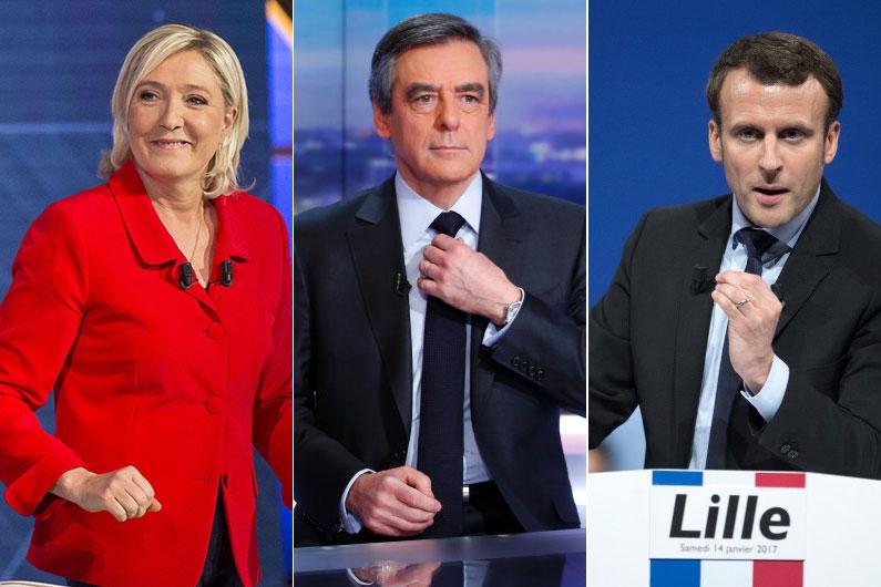 Marine Le Pen, François Fillon et Emmanuel Macron