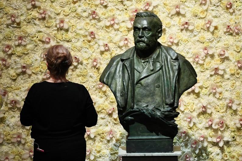 Illustration du buste d'Alfred Nobel, à Stockolm, en Suède