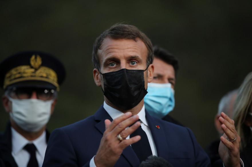 Emmanuel Macron en déplacement à Breil-sur-Roya le 7 octobre 2020
