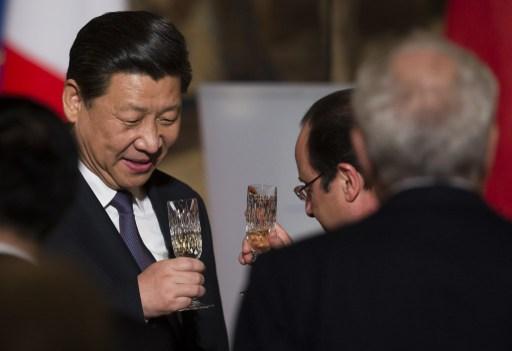 Le président chinois Xi Jinping et François Hollande à l'Élysée le mercredi 26 mars 2014.